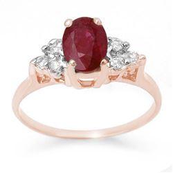 1.35 CTW Ruby & Diamond Ring 14K Rose Gold - REF-26T4M - 13625