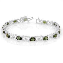 8.15 CTW Green Tourmaline & Diamond Bracelet 14K White Gold - REF-109X3T - 11261