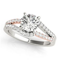 1.15 CTW Certified VS/SI Diamond Solitaire Ring 18K White & Rose Gold - REF-218K2W - 27930