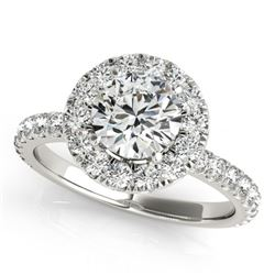 1.5 CTW Certified VS/SI Diamond Solitaire Halo Ring 18K White Gold - REF-230W2F - 26296