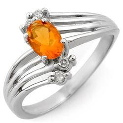 0.60 CTW Opal & Diamond Ring 10K White Gold - REF-24W2F - 10886