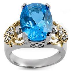8.20 CTW Blue Topaz & Diamond Ring 10K 2-Tone Gold - REF-52M8H - 10602
