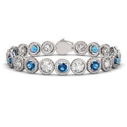 15.35 CTW Blue & White Diamond Designer Bracelet 18K White Gold - REF-3455Y5K - 42680