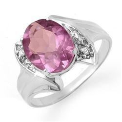1.59 CTW Amethyst & Diamond Ring 18K White Gold - REF-31A3X - 12476