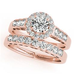 1.96 CTW Certified VS/SI Diamond 2Pc Wedding Set Solitaire Halo 14K Rose Gold - REF-428W2F - 31260