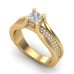 1.01 CTW Cushion Cut VS/SI Diamond Micro Pave Ring 18K Yellow Gold - REF-200K2W - 37162