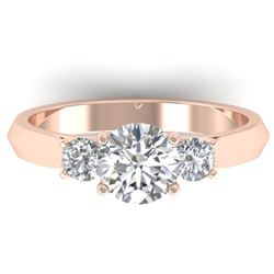 1.5 CTW Certified VS/SI Diamond Solitaire 3 Stone Ring 14K Rose Gold - REF-395T5M - 30313