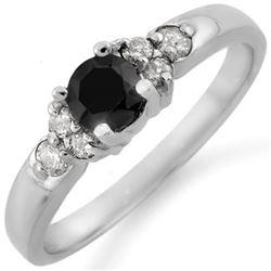 0.75 CTW VS Certified Black & White Diamond Ring 14K White Gold - REF-41X5T - 11515