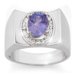 2.83 CTW Tanzanite & Diamond Men's Ring 10K White Gold - REF-83X8T - 14475