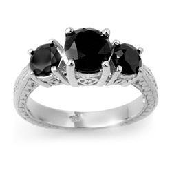 2.50 CTW VS Certified Black Diamond 3 Stone Ring 14K White Gold - REF-67T6M - 13798