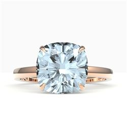 6 CTW Sky Blue Topaz Designer Inspired Solitaire Engagement Ring 14K Rose Gold - REF-31H6A - 22205