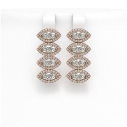 5.92 CTW Marquise Diamond Designer Earrings 18K Rose Gold - REF-1098H8A - 42837