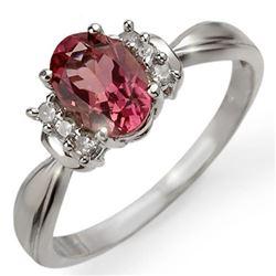 1.06 CTW Pink Tourmaline & Diamond Ring 10K White Gold - REF-32W2F - 13547