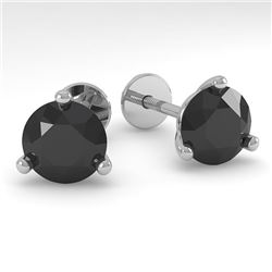2.0 CTW Black Certified Diamond Stud Earrings Martini 14K White Gold - REF-45T8M - 38320