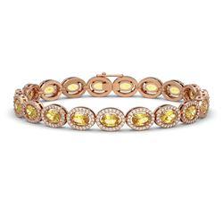 12.73 CTW Fancy Citrine & Diamond Halo Bracelet 10K Rose Gold - REF-226Y9K - 40494