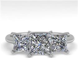 2.0 CTW Princess VS/SI Diamond 3 Stone Designer Ring 18K White Gold - REF-390K2W - 32472