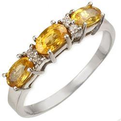 1.33 CTW Yellow Sapphire & Diamond Ring 18K White Gold - REF-32W9F - 10757