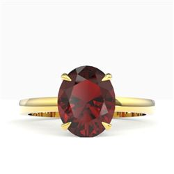 3.50 CTW Garnet Designer Inspired Solitaire Ring 18K Yellow Gold - REF-36W2F - 22064