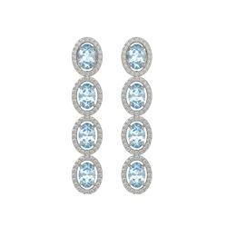 4.68 CTW Aquamarine & Diamond Halo Earrings 10K White Gold - REF-115M6H - 40526