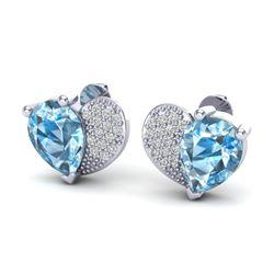 2.50 CTW Sky Blue Topaz & Micro Pave VS/SI Diamond Earrings 10K White Gold - REF-30K2W - 20067