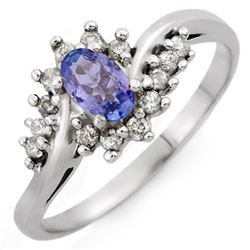 0.55 CTW Tanzanite & Diamond Ring 10K White Gold - REF-22Y8K - 10321