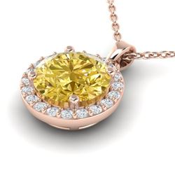 2 CTW Citrine & Halo VS/SI Diamond Micro Pave Necklace Solitaire 14K Rose Gold - REF-33A6X - 21557
