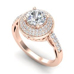 1.7 CTW VS/SI Diamond Solitaire Art Deco Ring 18K Rose Gold - REF-436H4A - 37254