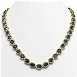 35.13 CTW London Topaz & Diamond Halo Necklace 10K Yellow Gold - REF-602M8H - 41080