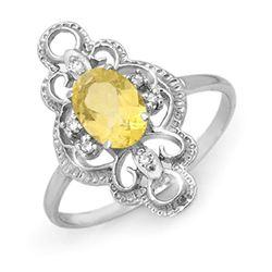 0.81 CTW Citrine & Diamond Ring 10K White Gold - REF-16Y9K - 12927
