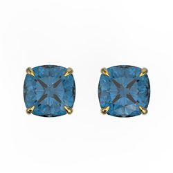 3 CTW Cushion Cut London Blue Topaz Designer Stud Earrings 18K Yellow Gold - REF-29A3X - 21750