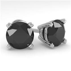4.0 CTW Black Diamond Stud Designer Earrings 18K White Gold - REF-120F2N - 32325