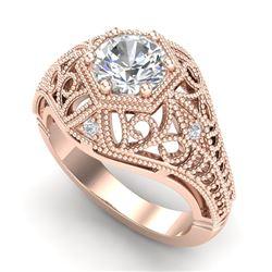 1.07 CTW VS/SI Diamond Solitaire Art Deco Ring 18K Rose Gold - REF-322T5M - 36918