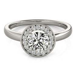 0.9 CTW Certified VS/SI Diamond Solitaire Halo Ring 18K White Gold - REF-187X5T - 26314