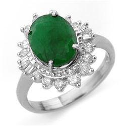 4.85 CTW Emerald & Diamond Ring 18K White Gold - REF-118A2X - 13175