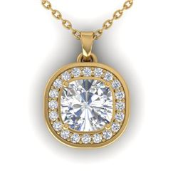 1.25 CTW Cushion Cut Certified VS/SI Diamond Art Deco Necklace 14K Yellow Gold - REF-402H9A - 30341