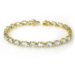 12.0 CTW Aquamarine Bracelet 10K Yellow Gold - REF-74T9M - 13448