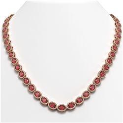 31.1 CTW Tourmaline & Diamond Halo Necklace 10K Rose Gold - REF-600M2H - 40419