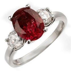 3.25 CTW Rubellite & Diamond Ring 14K White Gold - REF-89A3X - 10007