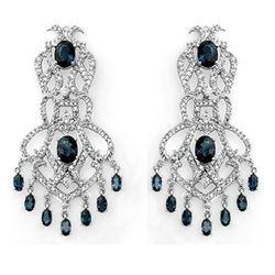 17.60 CTW Blue Sapphire & Diamond Earrings 14K White Gold - REF-568W9F - 11847
