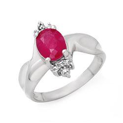 1.83 CTW Ruby & Diamond Ring 10K White Gold - REF-25F6N - 13929
