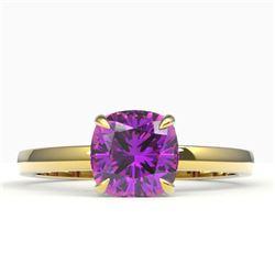 2 CTW Cushion Cut Amethyst Designer Engagement Ring 18K Yellow Gold - REF-33M6H - 22130