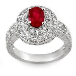 1.93 CTW Ruby & Diamond Ring 18K White Gold - REF-96A5X - 11026