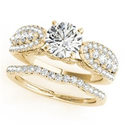 1.96 CTW Certified VS/SI Diamond Solitaire 2Pc Wedding Set 14K Yellow Gold - REF-422A8X - 31906