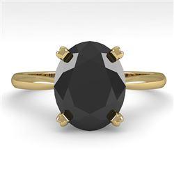 5.0 CTW Oval Black Diamond Engagement Designer Ring 14K Yellow Gold - REF-123W8F - 38480