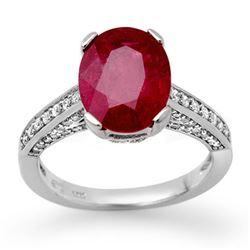 2.80 CTW Ruby & Diamond Ring 18K White Gold - REF-94X5T - 11870