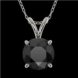 1.25 CTW Fancy Black VS Diamond Solitaire Necklace 10K White Gold - REF-29F5N - 33204
