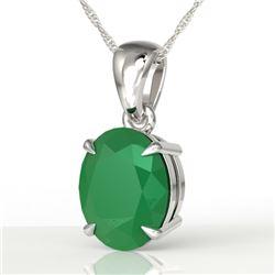3.50 CTW Emerald Designer Inspired Solitaire Necklace 18K White Gold - REF-33T3M - 21860