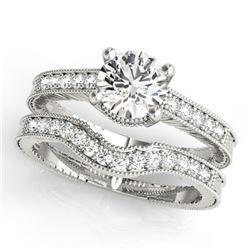 0.45 CTW Certified VS/SI Diamond Solitaire 2Pc Wedding Set Antique 14K White Gold - REF-94Y2K - 3152