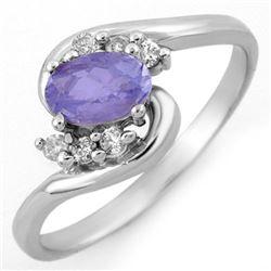 0.60 CTW Tanzanite & Diamond Ring 18K White Gold - REF-32N2Y - 10175