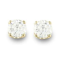 0.15 CTW Certified VS/SI Diamond Solitaire Stud Earrings 14K Yellow Gold - REF-16X4T - 13805